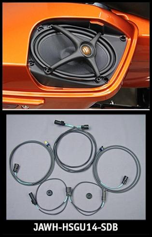 Sierra Electronics | J&M ROKKER XX Saddlebag Lid-Speaker Wire ... on harley handle bar control stereo wiring, harley amplifier, harley audio accessories,