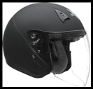 VEGA VTS1 OPEN FACE HELMET WITH VISOR, SHIELD, AND DROP-DOWN SUNSHIELD - FLAT BLACK