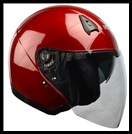 VEGA VTS1 OPEN FACE HELMET WITH VISOR, SHIELD, AND DROP-DOWN SUNSHIELD - CANDY RED