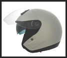 VEGA VTS1 OPEN FACE HELMET WITH VISOR, SHIELD, AND DROP-DOWN SUNSHIELD - SILVER